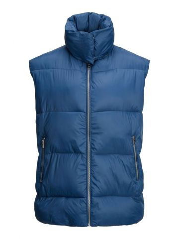 Padded Gilet with exposed zip detail - peacock