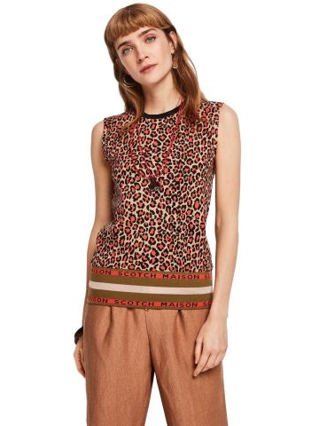 Ribbed Hem Tank Top - Leopard