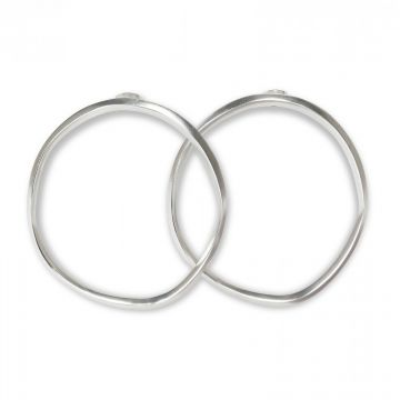 Hoop earrings with a hammered finish - silver
