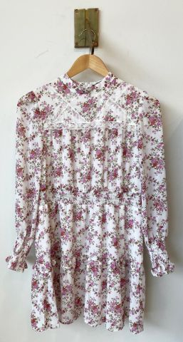Floral dress with lace panel detail