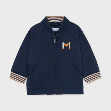 Jacket with contrasting stripe cuff detail - Navy