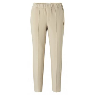 Jersey tailored trousers in a pale khaki