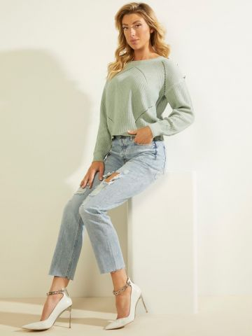 Knitted jumper with button detail - grey green