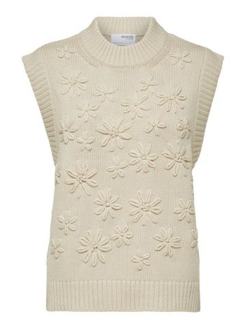 Knitted vest with flower embellishment