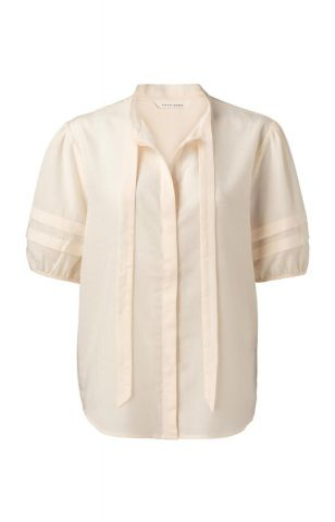 Linen blend blouse with bow detail
