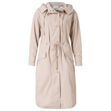 Long parka jacket with hood - sand