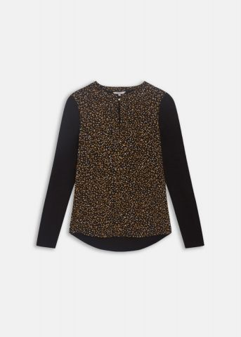 Long sleeved shirt with polka print - almost black