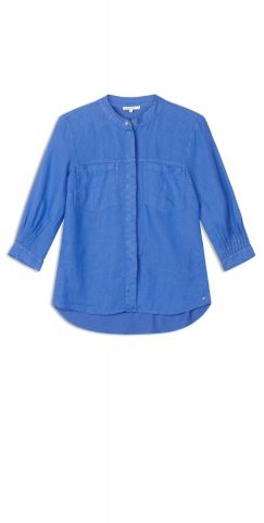 Linen blouse with breast pocket detail