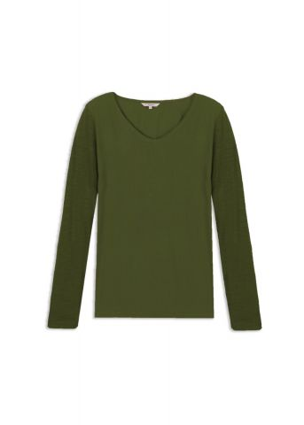 Long sleeve sweater with V neck - Military Olive