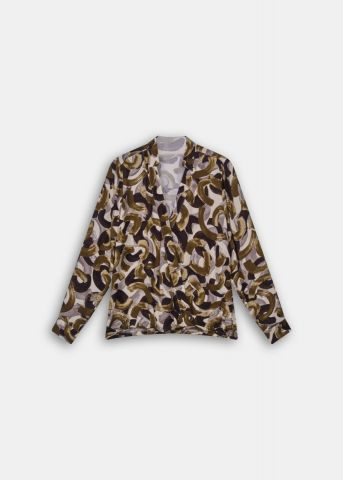 Long sleeved blouse - military olive print