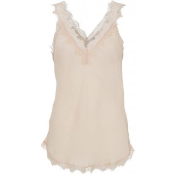 Moneypenny lace trimmed vest - Nude