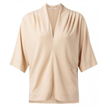 V neck top with pleat detail - Sand