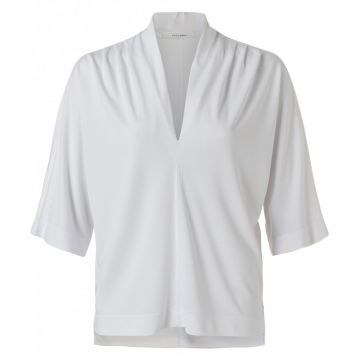V neck top with pleat detail - white