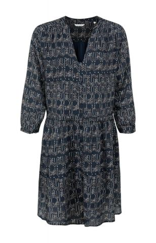 Button up midi dress with all over aztec print