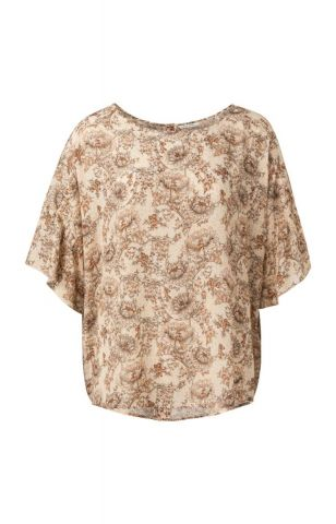 Printed top with riffled sleeve and button back