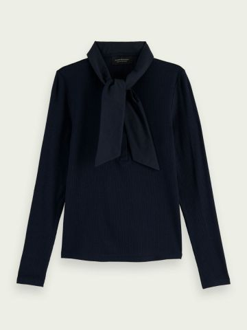 Scotch & Soda ribbed top with scarf detail