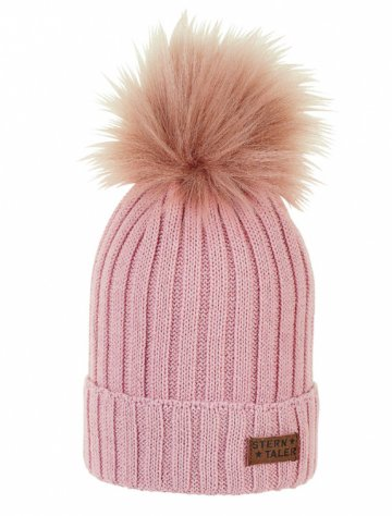 Knitted hat with fluffy pom pom - pink