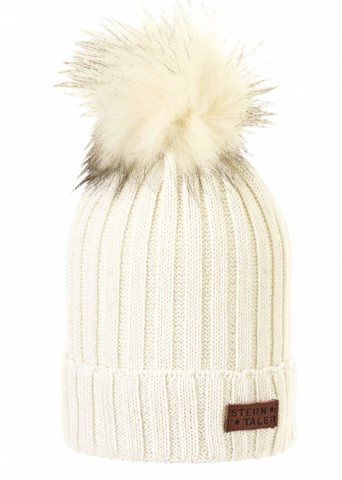 Knitted hat with fluffy pom pom