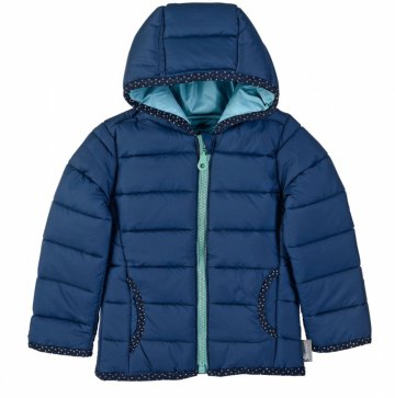 Puffer jacket with spotty trim detail