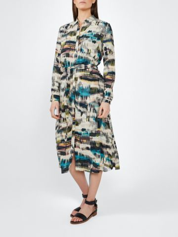 Shirt dress in a midi length with an all over print