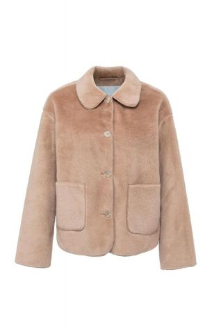 Faux fur jacket with buttons
