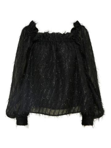 Sparkly blouse with tufts