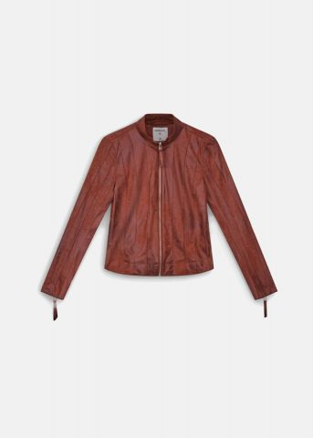 Stand collar biker jacket with panels - Ginger
