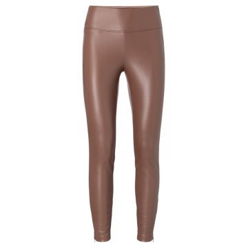 Stretch faux leather trouser - warm brown