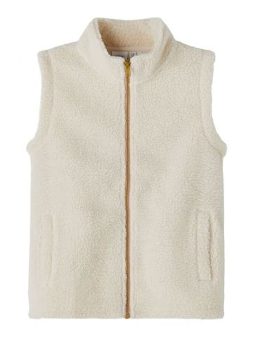 Teddy gilet with contrast zip detail