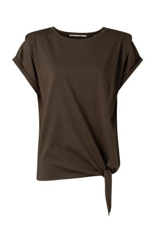 T-shirt with shoulder pad detail and tie at waist