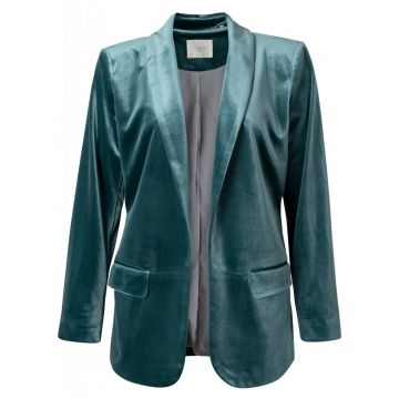 Velour blazer with strap detail at back