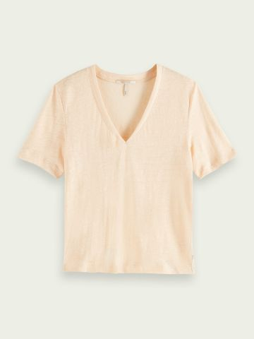 V neck linen t-shirt -peach