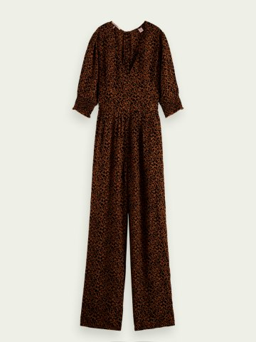 V neck jumpsuit in an all over print