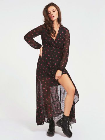 Long dress in an all over mini floral print