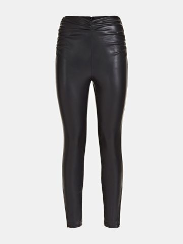 Faux leather trousers with gathering