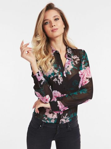 Floral print shirt with collar detail