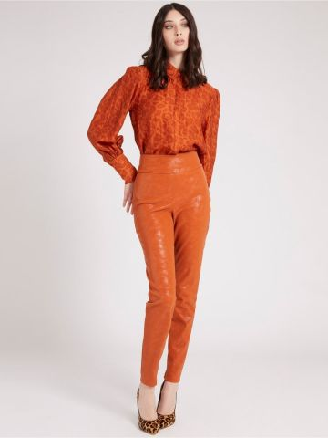 High rise faux suede trousers