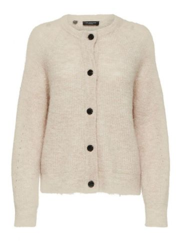 Wool blend cardigan with contrasting buttons