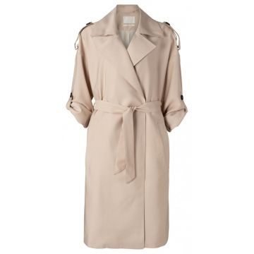 Woven trench coat with waist belt
