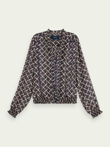 Ruffle neck blouse in an all over print