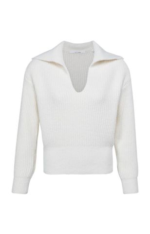 YaYa knitted sweater with wide collar - Wool white